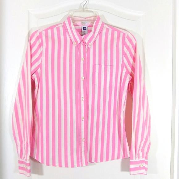 GAP Pink Stripe Long Sleeve Button Down Shirt/Top